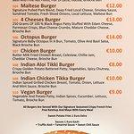 Momia Burgers Menu