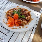 special manu of the day for today -Deep fried prawn with tamarind sauce- 220 THB very good taste.....