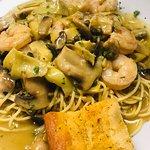 Shrimp Piccata with Spaghetti