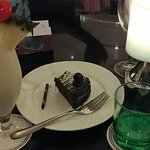 Drinks and cake at the lobby lounge.