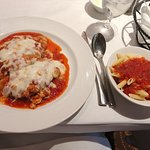 Chicken Parmigiano with pasta (included as part of the dish)