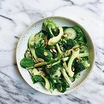 GREEN GODDESS SALAD asparagus, avocado, broccoli, mixed greens, seeds with basil pesto dressing.