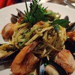 Basil pesto Linguine with shrimp, scallops and clams