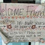Sign on front door