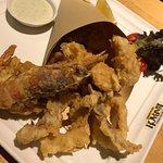 Seafoods appetizer.  Good!  Mixed of fish, jumbo shrimp, & calamari.  Not enough dipping sauce, has to ask for more. :)