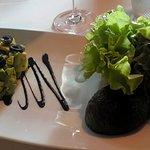 Avocado salad, a vegan appetizer option a la carte.