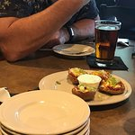 Appetizer - loaded potato skins. Our friends said they were very good. I personally do not eat t