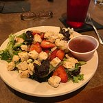 The famous Strawberry Chicken Salad with Raspberry dressing on the side. This is the lite versio
