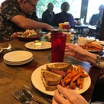 near - Reuben and sweet potato fries. Across the table to the right - the LARGE Strawberry chick