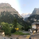 The view from our room was outstanding!  We had a walkout corner balcony with views of the Eiger and the surrounding mountains.  The current owner's grandfather was a painter and his artwork is featured thought the charming hotel.