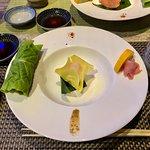 Botan Ebi Sushi and Salmon Lettuce Maki