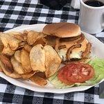 cajun burger with chips