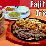 Fajitas. Served with three different salsas and warm flour tortillas.