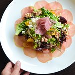 Heirloom Beet Salad - Munro Honey mead vinaigrette, Ontario beets, navel orange, fennel, toasted walnuts, chèvre, greens