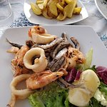 Mixed fried fish, squid and prawns