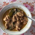 Chicken Brown coconut, coconut milk,  gingger, macademia nuts, coriander