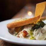 Vegan open ravioli with vegan garlic bread