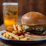 Beef burger with fries and local beer