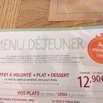 menu dejeuner chrono45 qui était bien plus longue