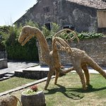 The dragon was just one of the straw topiary collection in Motovun