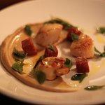 Pan-Fried Guernsey Scallops + Confit Chorizo + Cauliflower Puree + Sea Purslane