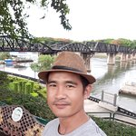 Invite friends to visit another beautiful place, Kanchanaburi. This is a bridge over the River Kwai.
