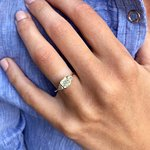 Ronan Campbell Green Gold Platinum and Green Diamond Engagement Ring