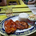 Lovely marinated chicken with rice & coleslaw and my half price (effectively because of happy ho