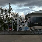 across from the Tower and stadium - the Olympic rings and biodome