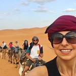 Riding camels into the desert!