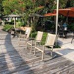 Marche Burette Deli - boardwalk along pond seatig