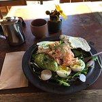 Smoked salmon salad w/ avocado and hard-boiled egg