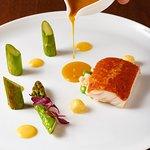 Chorizo crust, Ainame fish, green asparagus