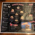 Burger and menu