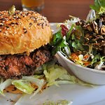 Buttermilk Fried Chicken Sandwich with side salad- Perfection