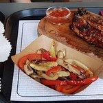 Stuffed pork, Toro burger and veggies