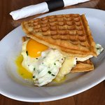 The Broken Yolk Egg and Cheese Breakfast Sandwich (with waffles!)