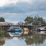 The MV Mary Ann moored at the historic Echuca Wharf in the Port of Echuca, on the Murray River.