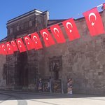 Entrance decorated with flags