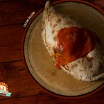Our special calzone...baked in wooden oven, Try it, and love it!