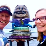 We were very happy to find Humpty Dumpty on our Bemidji Sculpture Walk! Great Find! Fun Day! Wonderful Creation!