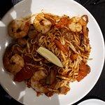 Chili prawns and choriza linguine