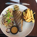 Grilled seabass - the chips were an added side, but delicious.