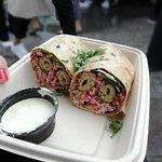 Chicken kathi roll with coriander yogurt