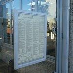Extensive menu on door