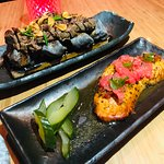 Hot Rock Steak and delicious Salmon