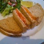 Salmon and cream cheese sandwiches.