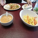 Chicken coconut soup and mango salad.