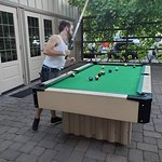 Our courtyard features an outdoor pool table