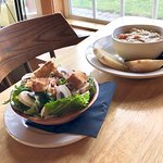 A steak stew and salad special